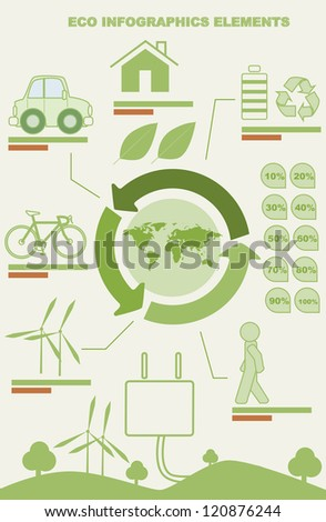 Ecology info graphics, elements and icons
