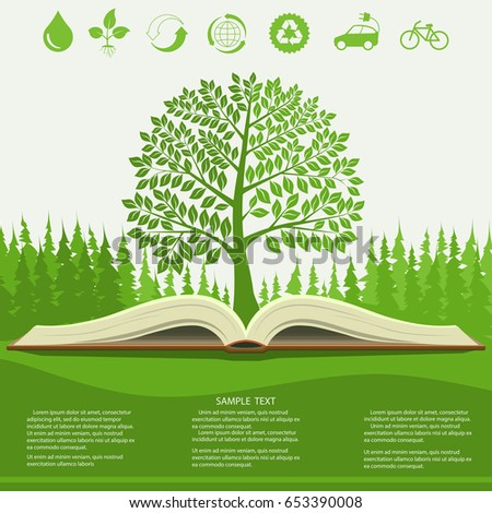 Ecology info graphics modern design, green tree and opened book, ecological brochure template. Vector