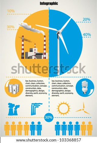 Ecology info graphics wind turbine and goal power plant