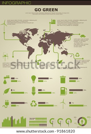 Ecology infographics collection, charts, symbols, graphic vector elements