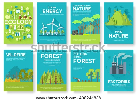 ecology information cards set