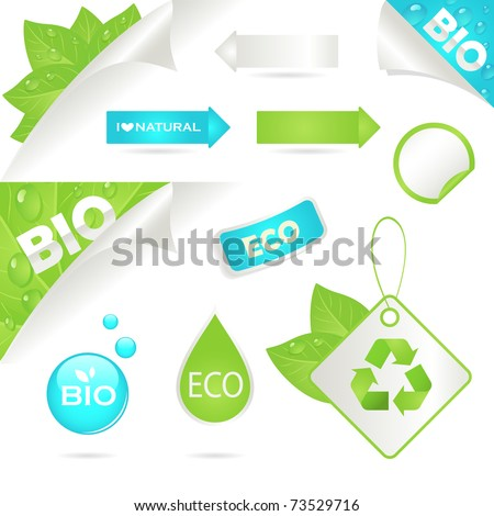 ecology labels and bio icons, vector illustration