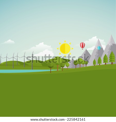 Ecology Landscape Illustration /Flat Style/