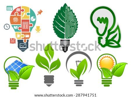 ecology light bulbs symbols