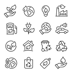 Ecology line art icon set, nature and environment. Protection, planet care, natural recycling power. Vector ecology line art illustration