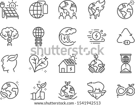 Ecology line icon set. Included icons as eco product, clean energy, renewable power, recycle, reusable, go green and more.