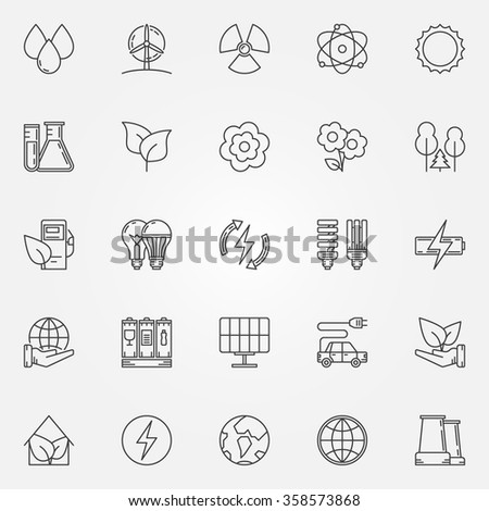 Ecology linear icons - vector set of ecology and environment symbols or signs in thin line style