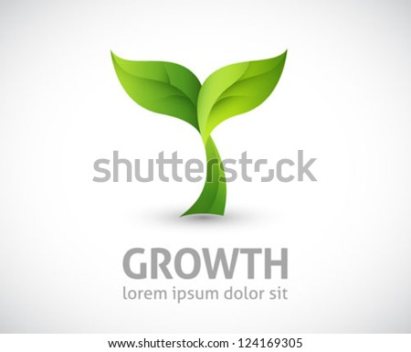 ecology logo - green design - growth vector illustration
