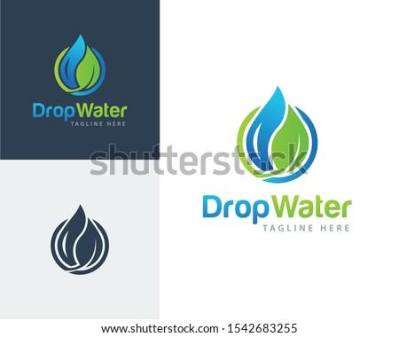 ecology logo  water drop leaf