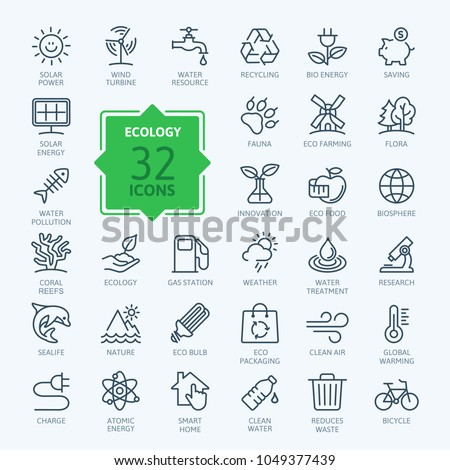 Ecology minimal thin line web icon set. Outline icons collection. Simple vector illustration
