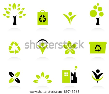 Ecology, nature and environment icons set isolated on white - stock vector