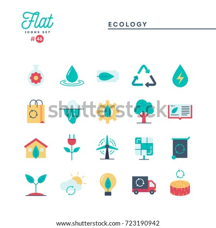 Ecology, nature, clean energy, recycling and more, flat icons set, vector illustration