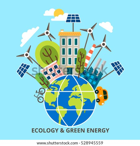 Ecology problem concept in flat stile. Vector illustration, infographic concept of green energy and eco friendly world for graphic and web design.