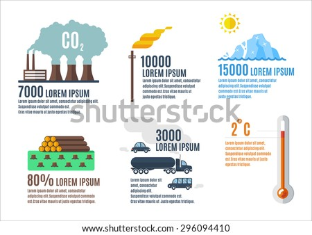 Ecology problems infographic elements in flat style.Industrial infographic elements. Greenhouse effect and global warming infographic elements.