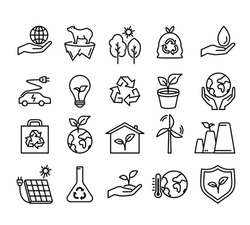 Ecology protect flat icon. Pictogram for web. Line stroke. Isolated on white background. Vector eps10. Save the planet by green energy concept