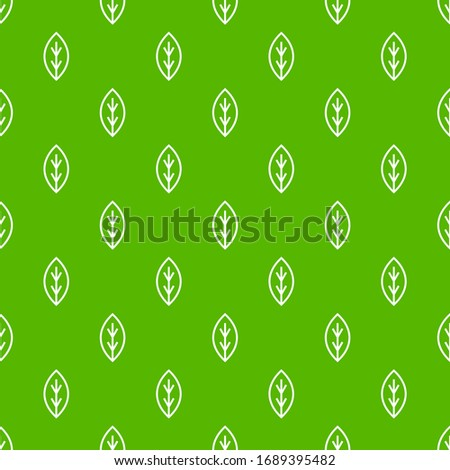 Ecology seamless pattern with line leaves on green background. Vector illustration.