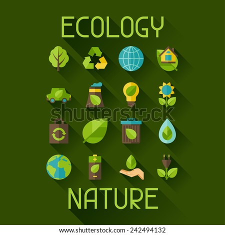 Ecology set of environment green energy and pollution icons