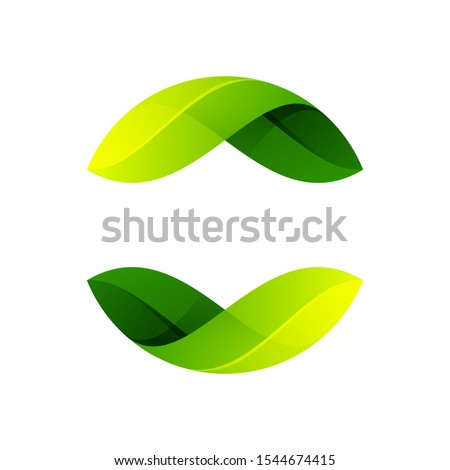 Ecology sphere logo formed by twisted green leaves. Vector design template elements for vegan, bio, raw, organic template. Foto d'archivio ©