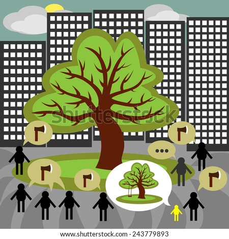 Ecology. The decision on cutting down trees