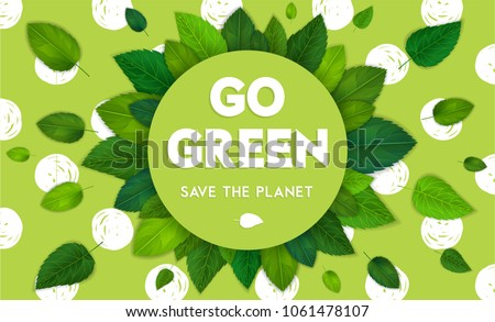 Ecology theme Happy Earth Day flyer template with lettering. Bright fresh green leaves concept. Poster, card, label, banner design. Bright and stylish geometrical background. Vector illustration EPS10