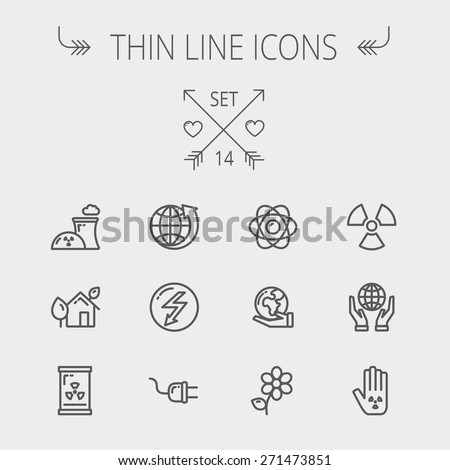 ecology thin line icon set for