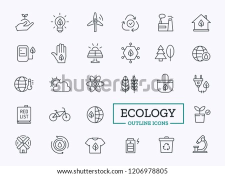 Ecology Thin Line Icons. Vector Outline Design symbols for Ui