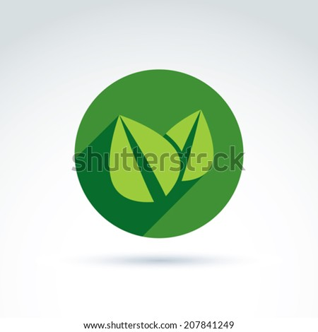 Ecology vector icon for nature and environment conservation theme. Two leaves placed in a green circle, ecology conceptual symbol isolated on white background.