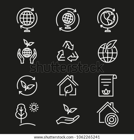 Ecology vector icon. White illustration isolated on black background for graphic and web design.