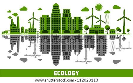 ecology versus pollution vector elements