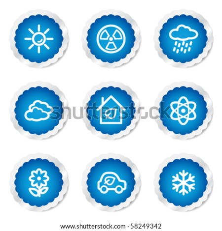 Ecology web icons set 2, blue stickers series