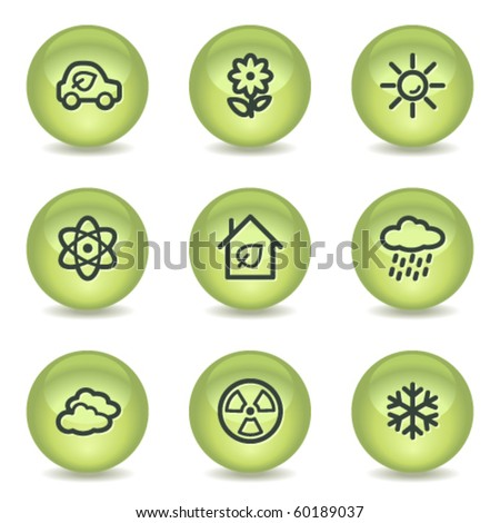 Ecology web icons set 2, green glossy circle buttons - stock vector