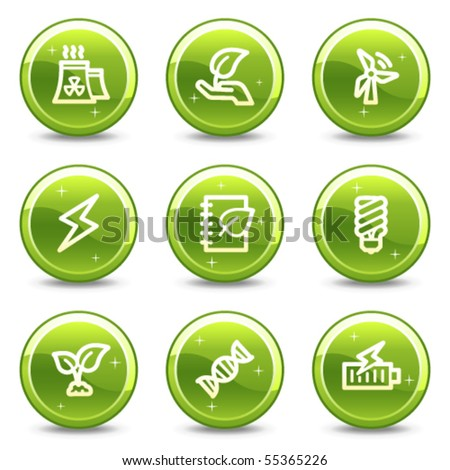 Ecology web icons set 5, green glossy circle buttons series