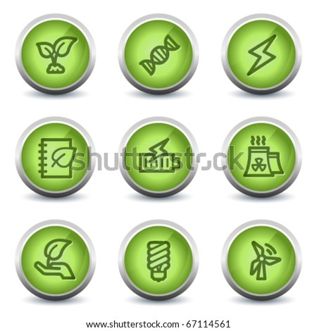 Ecology web icons set 5, green glossy set