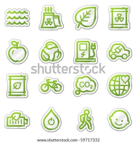 Ecology web icons set 2, green sticker series