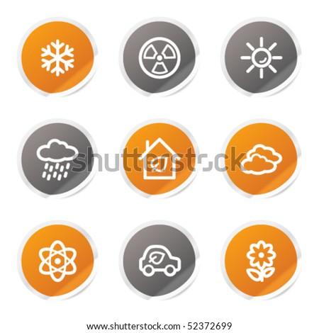 Ecology web icons set 2, orange and grey stickers