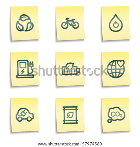 Ecology web icons set 4, yellow notes series