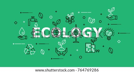 Ecology with Icon Set in Concept of Ecology and Green Energy . Flat Thin line designed vector illustration on white Background. Editable Stroke.