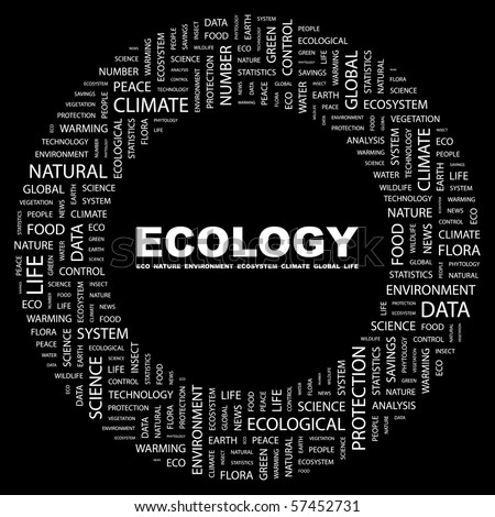 ECOLOGY. Word collage on black background. Illustration with different association terms.