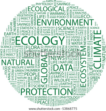 ECOLOGY. Word collage on white background. Vector illustration.