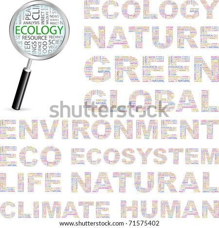 ECOLOGY. Word collage on white background. Vector illustration. Illustration with different association terms. - stock vector