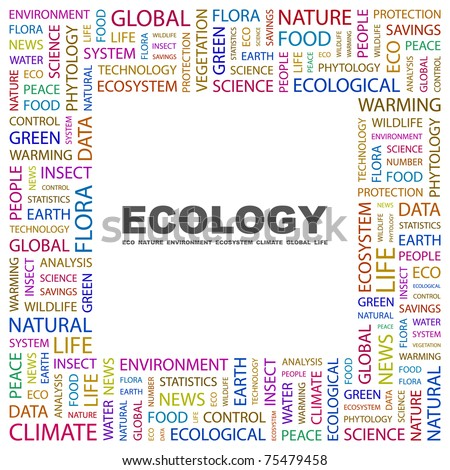 Ecology. Word collage on white background. Vector illustration. Illustration with different association terms.