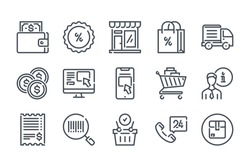 Ecommerce and Shopping related line icon set. Web store linear vector illustration collection. Online shopping outline icons.