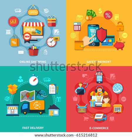 Ecommerce colored composition set with online shopping safety payment fast delivery headlines vector illustration