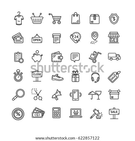 Ecommerce Icon Black Thin Line Set Online Shopping Service for Web and App Isolated on White Background. Vector illustration