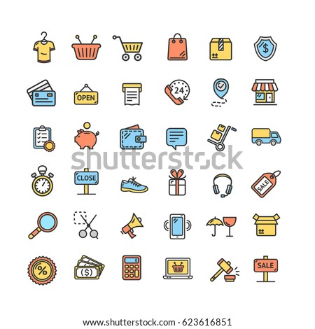 Ecommerce Icon Color Thin Line Set Online Retail Store Business Symbol Isolated on White Background. Vector illustration