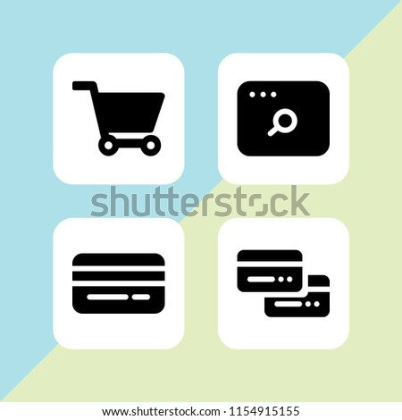ecommerce icon. 4 ecommerce set with credit card, cart of ecommerce, credit cards and url vector icons for web and mobile app