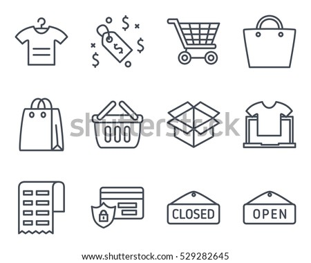 ecommerce icon vector outlined line business finance shop shopping set pack