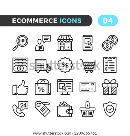 Ecommerce line icons. Outline symbols collection. Premium quality. Pixel perfect. Vector thin line icons set