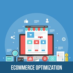 eCommerce marketing, sales conversion optimization, shopping cart, flat design vector with icons