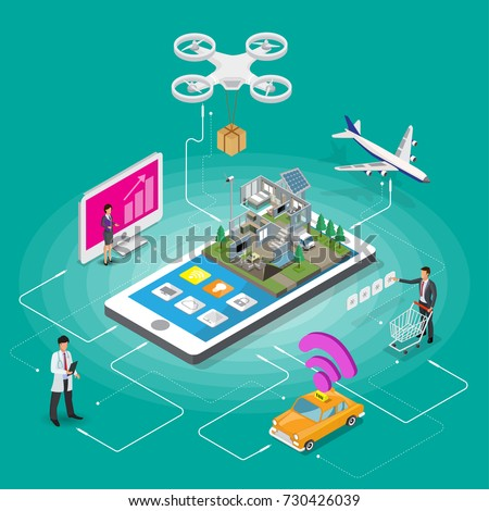 Ecommerce mobile icons isometric people and online shopping payment,travel,information,transportation or medical support infographic vector isometric flowchart.